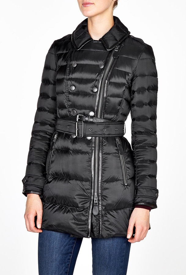 Burberry Leather Trim Quilted Puffer Jacket
