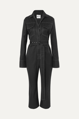 Orseund Iris Workwear Belted Cotton-gabardine Jumpsuit - Black
