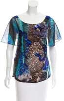 Alberta Ferretti Sequined Silk Top