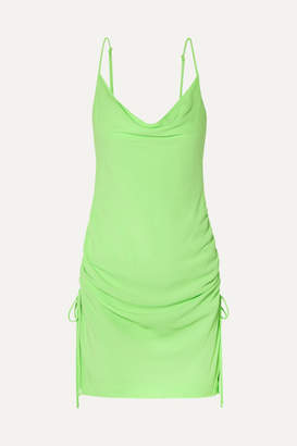 STAUD Tarte Ruched Crepe Mini Dress - Light green
