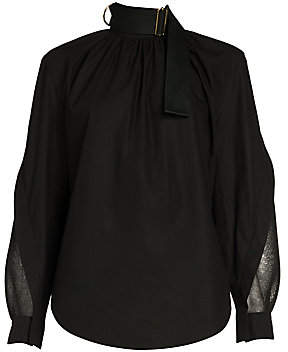 Fendi Women's Taffeta Mesh Sleeve Top