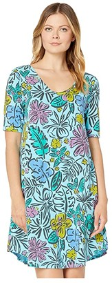 Fresh Produce Sketched Flora Mika Dress (Bluefin Turquoise) Women's Dress