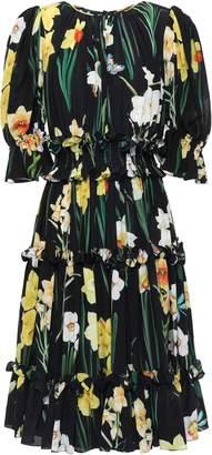 Dolce & Gabbana Ruffled Floral-print Silk Crepe De Chine Dress