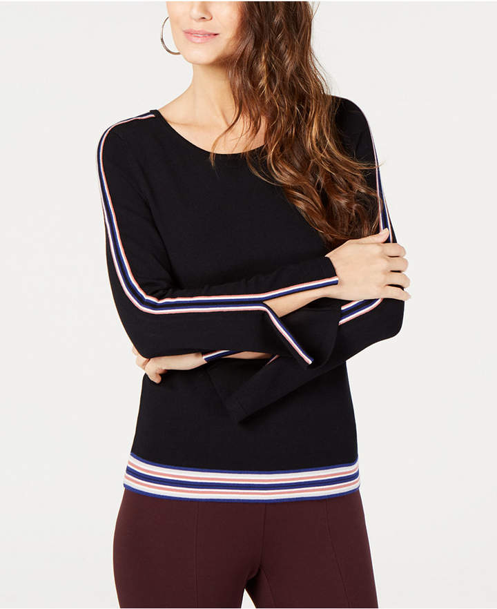 Petite Varsity-Striped Sweater