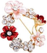 "Romantic Time ""Cherish"" Gold Plated Sterling Silver Cherry Pearl Brooch"