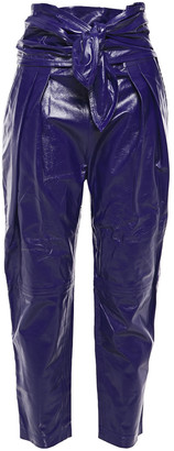 IRO Knotted Glossed-leather Tapered Pants
