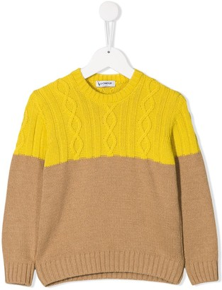 Dondup Kids Two Tone Cable Knit Jumper