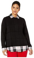 Foxcroft Plus Size Shoshana Sinclair Tartan Twofer Sweater (Black) Women's Clothing