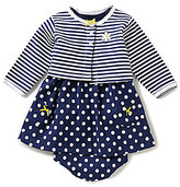 Little Me Baby Girls 3-12 Months Striped Cardigan and Dot-Printed Dress Set