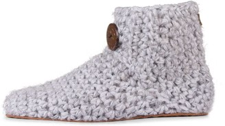 Kingdom Of Wow Handmade Bamboo & Wool High Top Slippers for Women in Soft Gray