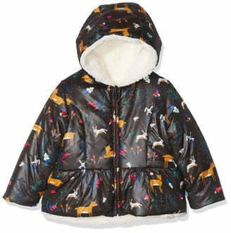 Catimini Girls' CP42023 PARKA REVERSIBL Rain Jacket - Coal (Multicolor) - 4 Years