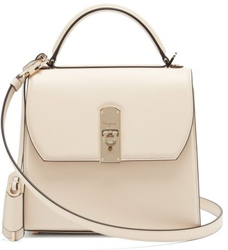 Salvatore Ferragamo Boxyz Leather Bag - White