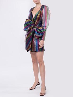 ATTICO Bow Detail Multicolored Mini Dress