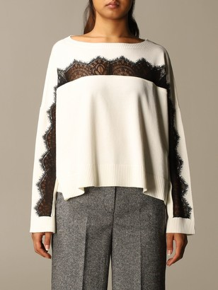 Twin-Set Twin Set Sweater Wide Neckline With Contrasting Lace Insert