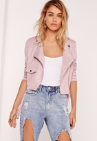 Missguided Faux Suede Biker Jacket Lilac
