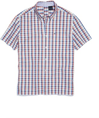Tommy Hilfiger Men's Adaptive Seated Magnetic Short Sleeve Button Shirt Custom Fit