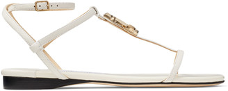 Jimmy Choo ALODIE FLAT Latte Nappa and Patent Leather Flat Sandals