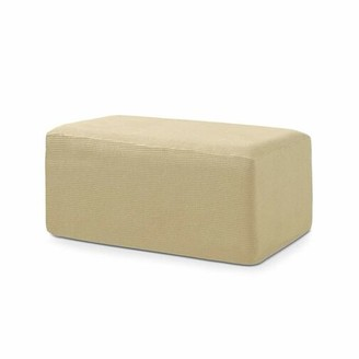 BEIGE Subrtex Spandex Jacquard Folding Storage Box Cushion Ottoman Slipcover(Beige, Small)
