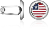 Forzieri Stars & Stripes US Flag Silver Plated Round Cuff links