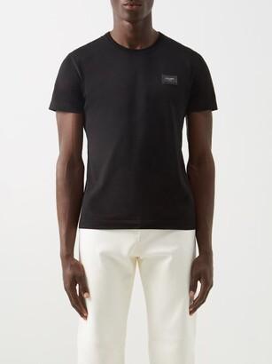 Dolce & Gabbana Logo Patch Cotton-jersey T-shirt - Black