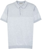 John Smedley Kiefer Light Grey Knitted Polo Shirt