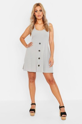 boohoo Plus Plunge Button Down Skater Dress