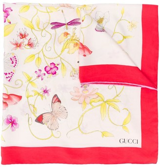 Gucci Pre Owned 1980's Silk Floral Scarf