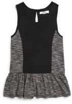 DKNY Girl's Space-Dye Paneled Peplum Tank