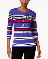 Alfred Dunner Striped Necklace Top