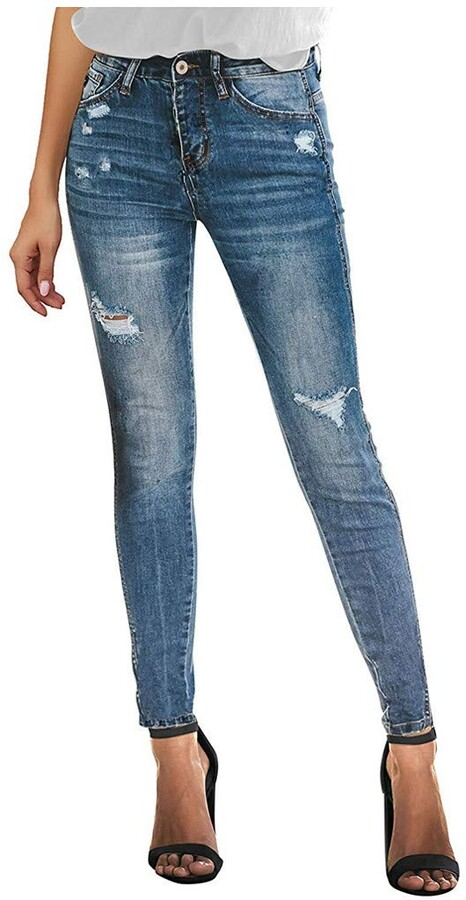 Thumbnail for your product : CUTUDE Ladies Jeans Skinny Crop Ankle Frayed Ripped Zip Buttons Fly High Rise Hole Casual Slim Fit Denim Stretch Pants Women's Fashion Trousers (Navy-A UK 10-12)