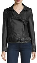 Bagatelle Belted Faux-Leather Biker Jacket