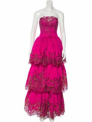 Marchesa Embellished Strapless Gown Fuchsia