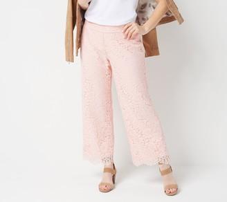 Isaac Mizrahi Live! Petite Wide Leg Knit Lace Pants