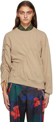 Dries Van Noten Taupe Ruched Sweatshirt