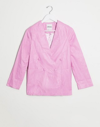 UNIQUE21 faux leather blazer in hot pink