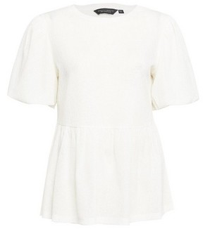 Dorothy Perkins Womens White Puff Sleeve Peplum Hem Blouse, White