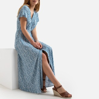 Anne Weyburn Printed Midaxi Dress with Short Sleeves