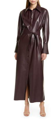 Nanushka Rosana Long Sleeve Faux Leather Shirtdress