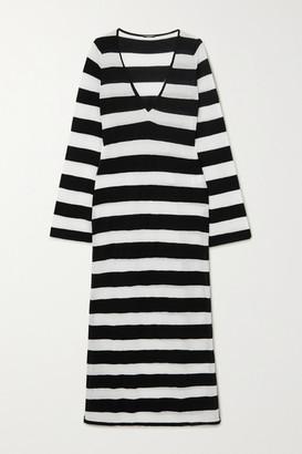 Caroline Constas Striped Cotton-blend Maxi Dress - White