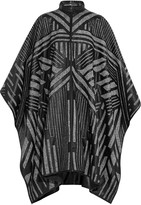 Roberto Cavalli Leather-trimmed wool-tweed cape