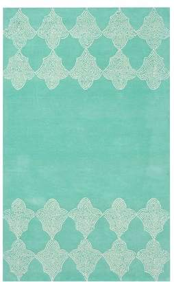 Pottery Barn Teen Moroccan Tile Border Rug, 8'x10', Light Turquoise