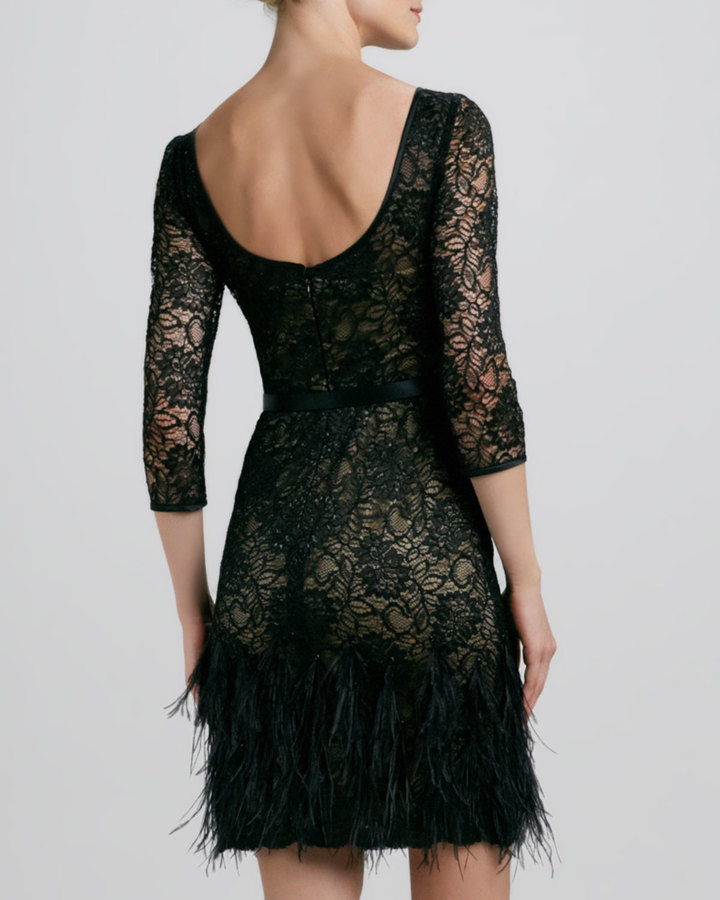 Theia Lace Feather-Hem Cocktail Dress
