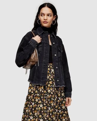 Topshop Denim Raw Hem Oversized Jacket