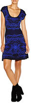 Nicole Miller Double Knit Placed Leaf Print Fit and Flare Dress