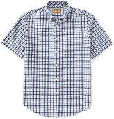 Roundtree & Yorke Gold Label Short-Sleeve Non-Iron Dobby Plaid Button-Down Collar Sportshirt