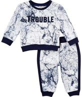 River Island Mini boys grey marble print sweatshirt outfit