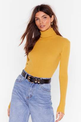 Nasty Gal Womens Ribbed and Fitted Silhouette Turtleneck Jumper - Yellow - M/L