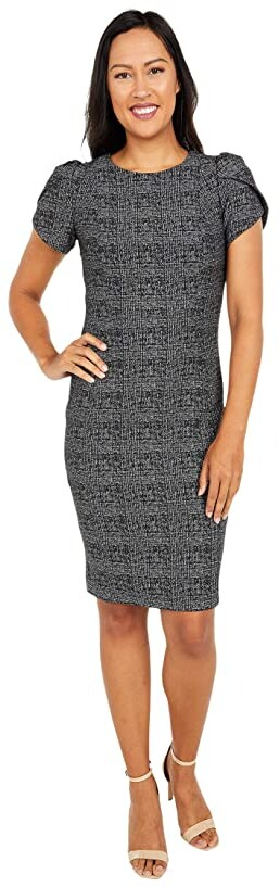 Calvin Klein Printed Sheath Dress with Tulip Sleeves (Black/Tin Silver) Women's Dress