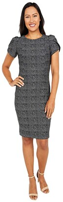 Calvin Klein Printed Sheath Dress with Tulip Sleeves (Black/Tin Silver) Women's Dress