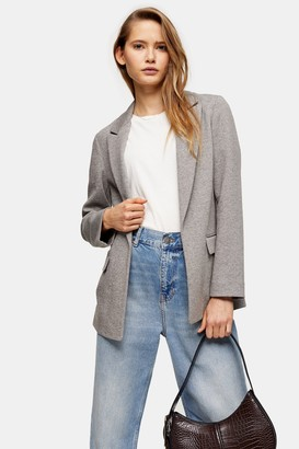 Topshop Gray Jersey Double Breasted Blazer